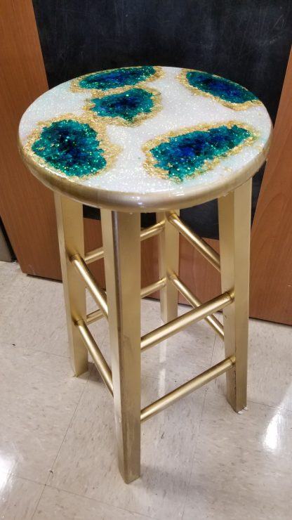 "24"" Personalized Geode Resin Art Stool"