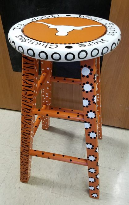 "24"" Personalized Hand Painted Art Stool"
