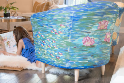 Hand Painted Water Lilies Club Chair