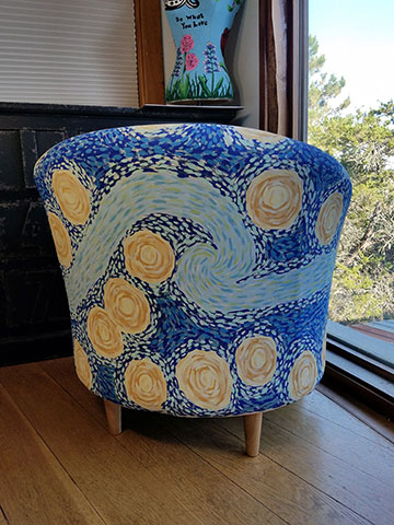 Hand Painted Starry Night Club Chair