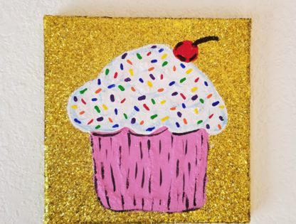 Letter or Cupcake Glitter Painting Party