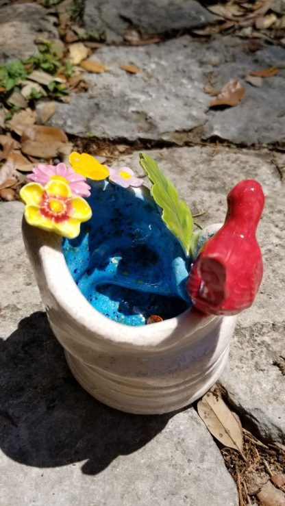 Handmade Ceramic - Red Bird Drinking At A Fountain