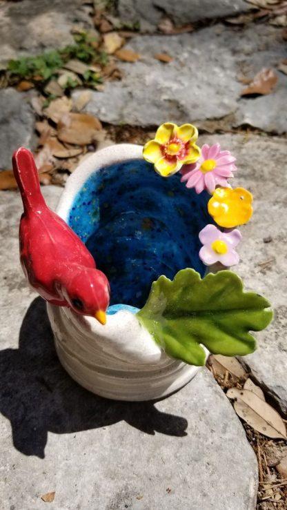 Handmade Ceramic - Red Bird Drinking At A Fountain