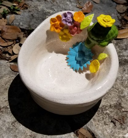 Handmade Ceramic - Sand Colored Bowl With Turtle And Flowers