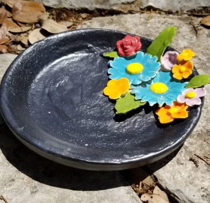 Handmade Ceramic - Dark Slate Plate With Flowers